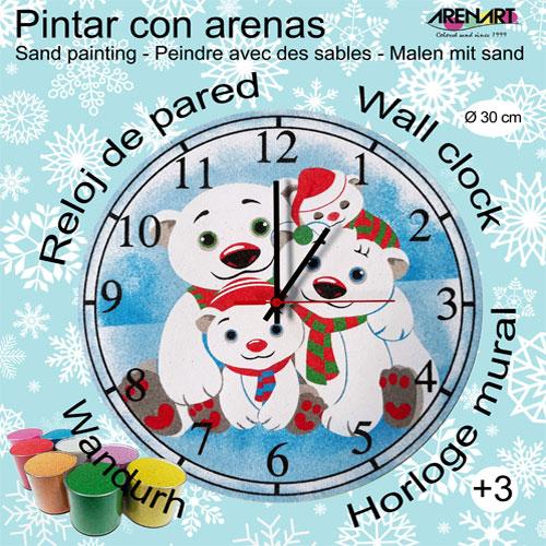Set Pinta Reloj Pared con arenas. Familia Ositos