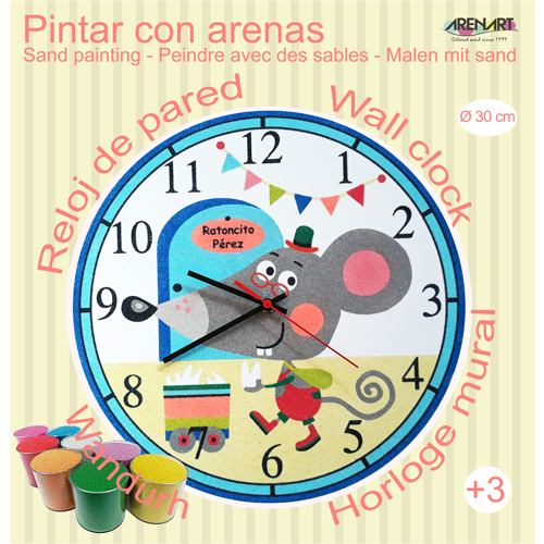 Set Pinta Reloj Pared con arenas. Ratoncito Pérez