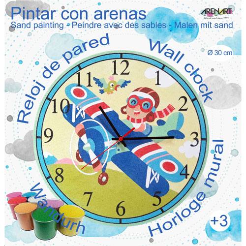 Set Pinta Reloj Pared con arenas. Avioneta