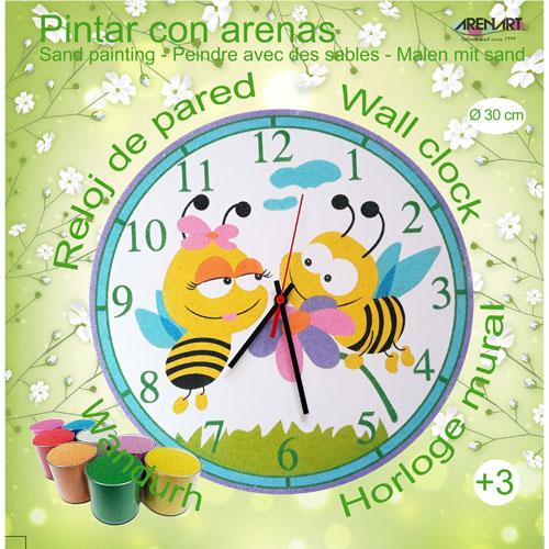Set Pinta Reloj Pared con arenas. Abejitas