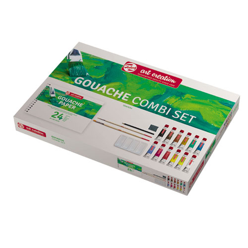 Caja 12 témperas 12 ml, paleta plástico, lápiz, 2 pinceles y goma