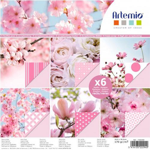 Bloc 6 hojas 30,5x30,5 cm. Rosas