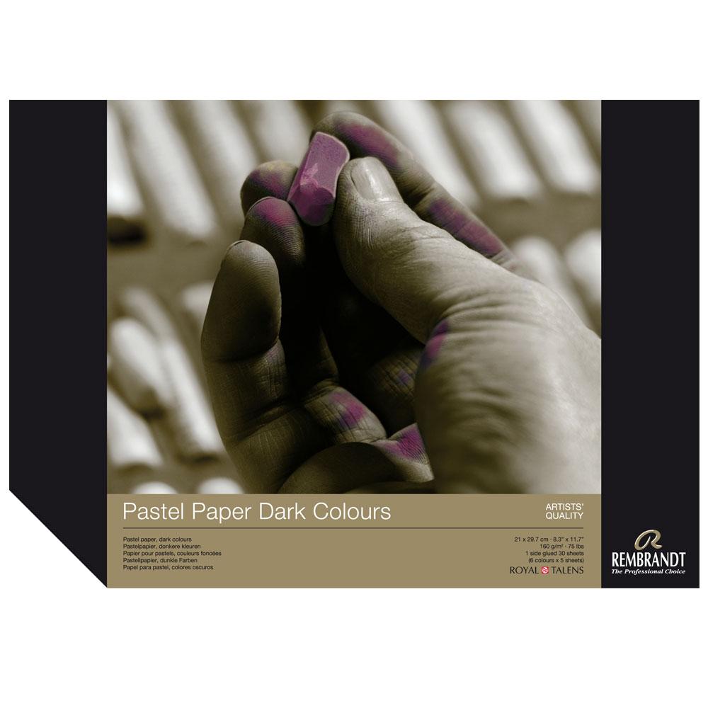 Bloc papel para Pastel Rembrandt 30 hojas 160 g/m2. A4 Colores Oscuros