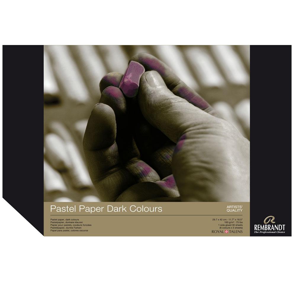 Bloc papel para Pastel Rembrandt 30 hojas 160 g/m2. A3 Colores Oscuros