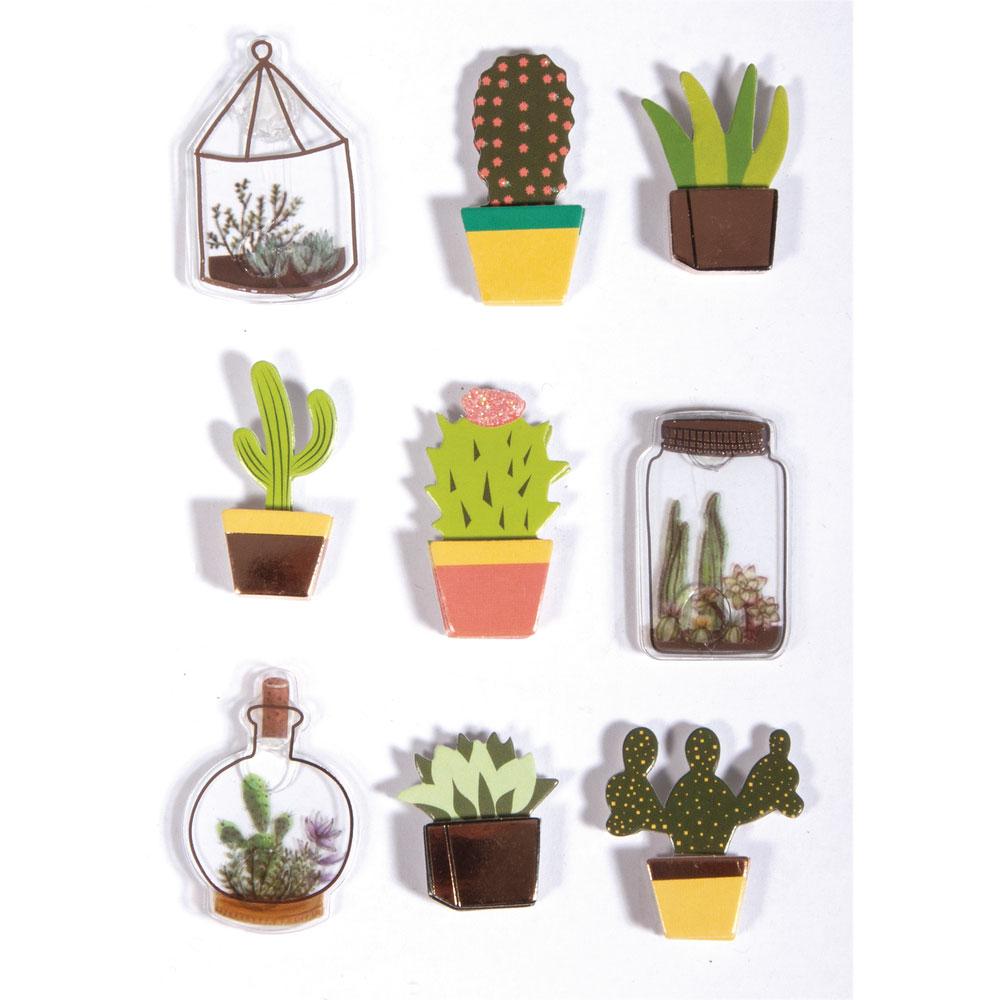 3D Sticker Cactus 9 pzas