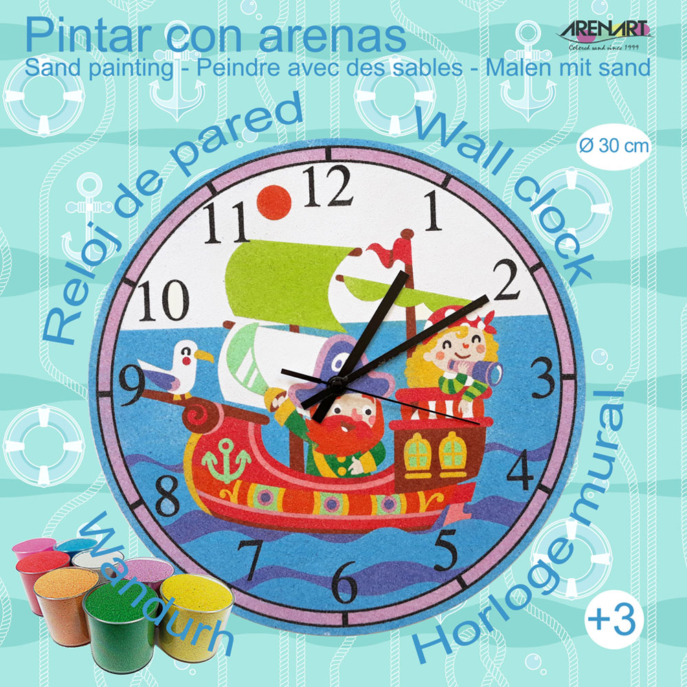 Set Pinta Reloj Pared con arenas. Barco Pirata