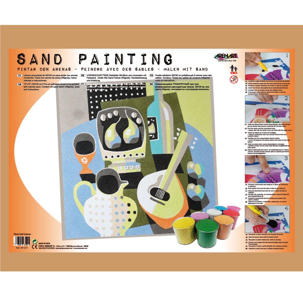 Sand Painting Bodegón Naif Guitarra