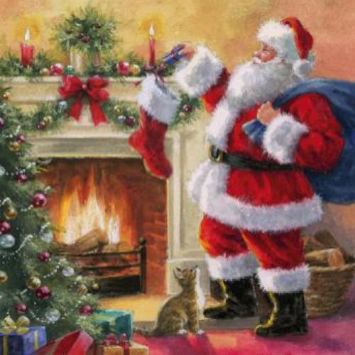 20 Servilletas Navidad. Santa en ximenea