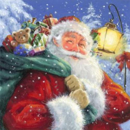20 Servilletas Navidad. Santa con regalos