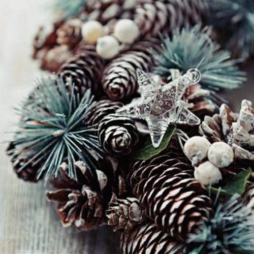 20 Servilletas Navidad. Corona con estrella