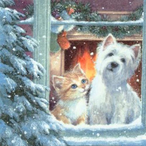 20 Servilletas Navidad. Westie y Kittin