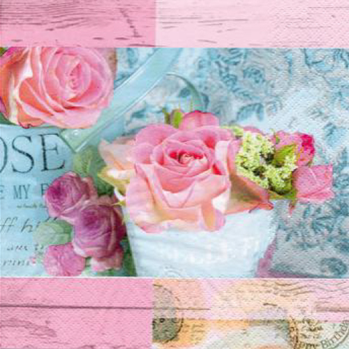 20 servilletas. Rosas vintage Paris fondo rosa