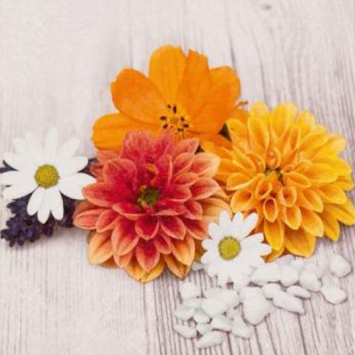 20 servilletas. Flores amarillas, naranjas y blancas