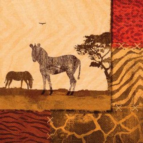 20 Servilletas. Collage zebra