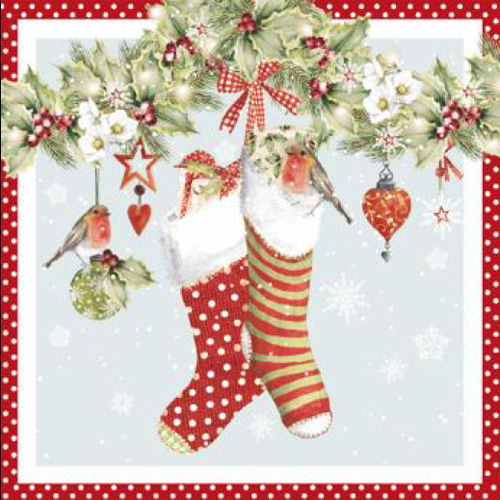 20 servilletas. Calcetines guirnalda roja