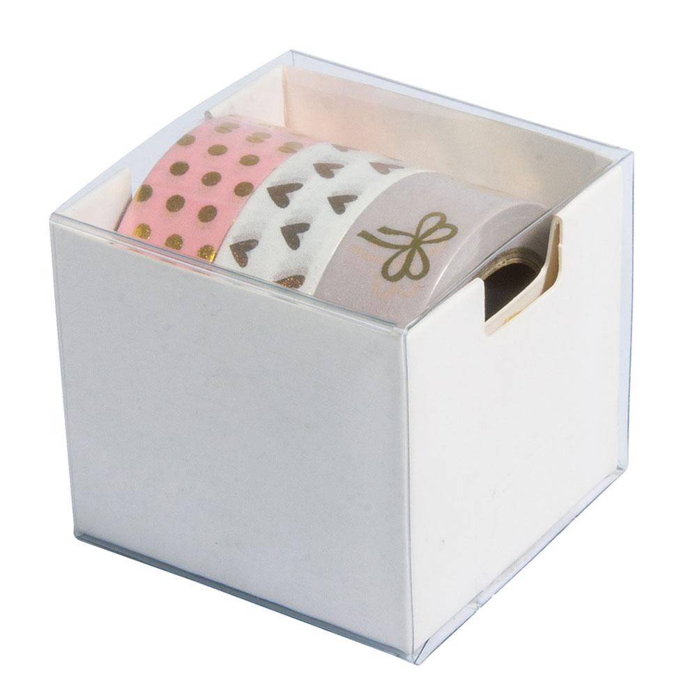 Kit 3 washi tape rosa y oro foil. 15mmx10m