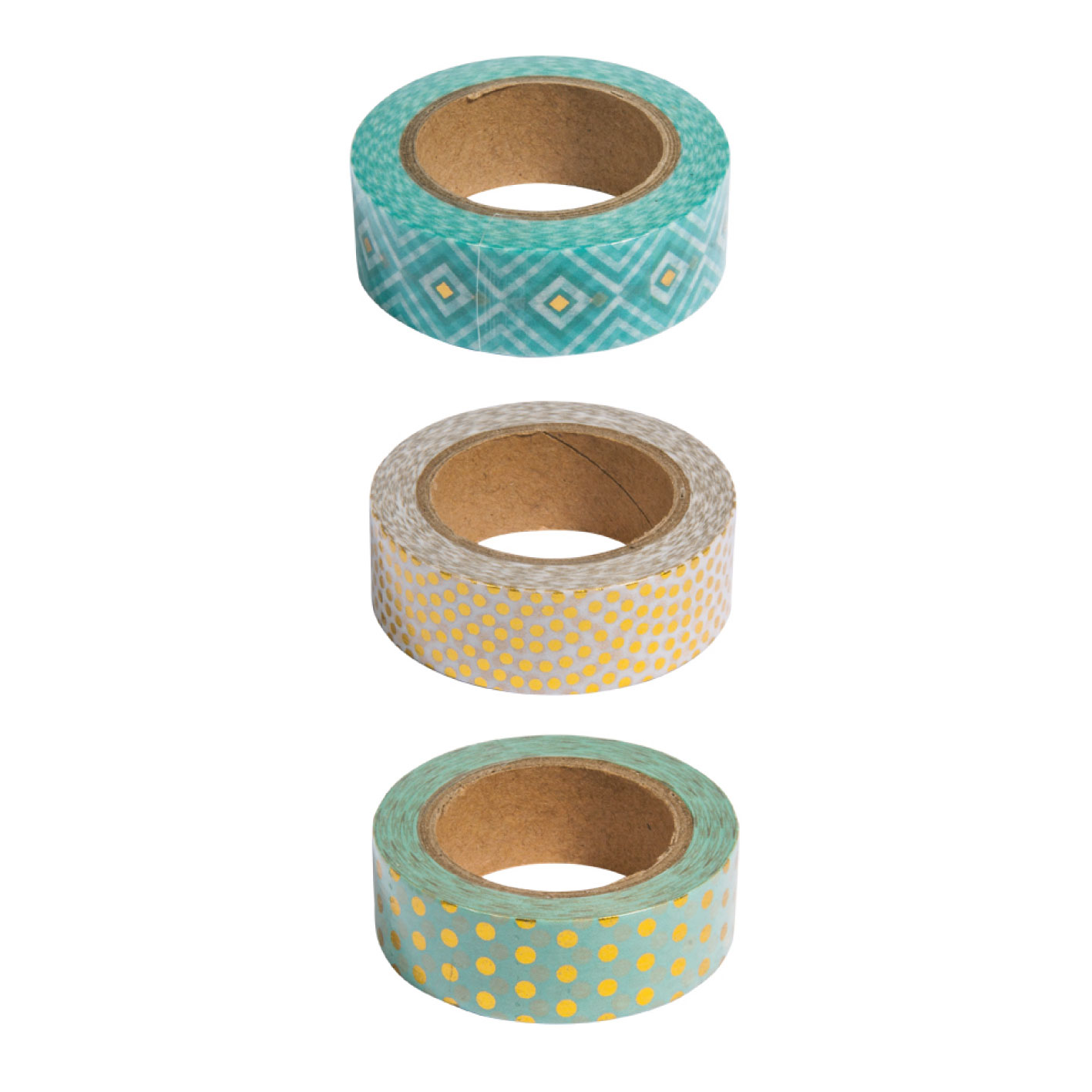 Kit 3 washi tape menta y oro foil. 15mmx10m