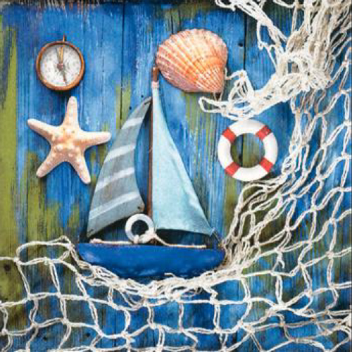 20 servilletas. Motivos marinos en azul