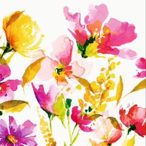 20 servilletas. Acuarela flores rojas y naranjas