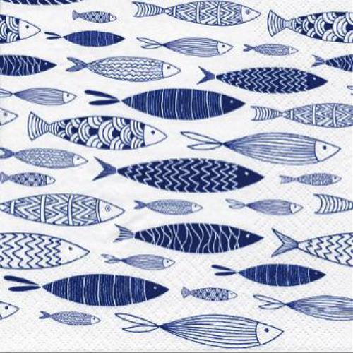 20 servilletas. Fondo de peces azules
