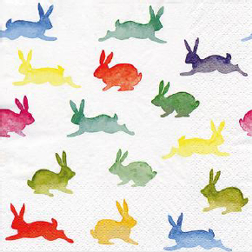 Papel 4x Servilletas Para Fiesta Decoupage-dos conejos Coral