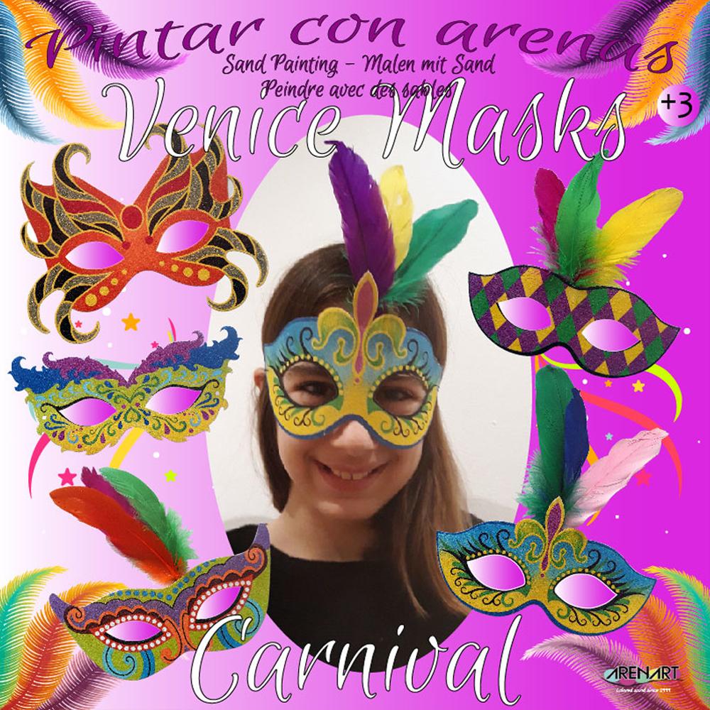 Arenart 5 M/áscaras Carnaval Venecia Set Pintar con Arenas de Colores