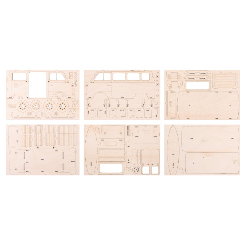 Autocaravana 3D montable madera 30x13x17