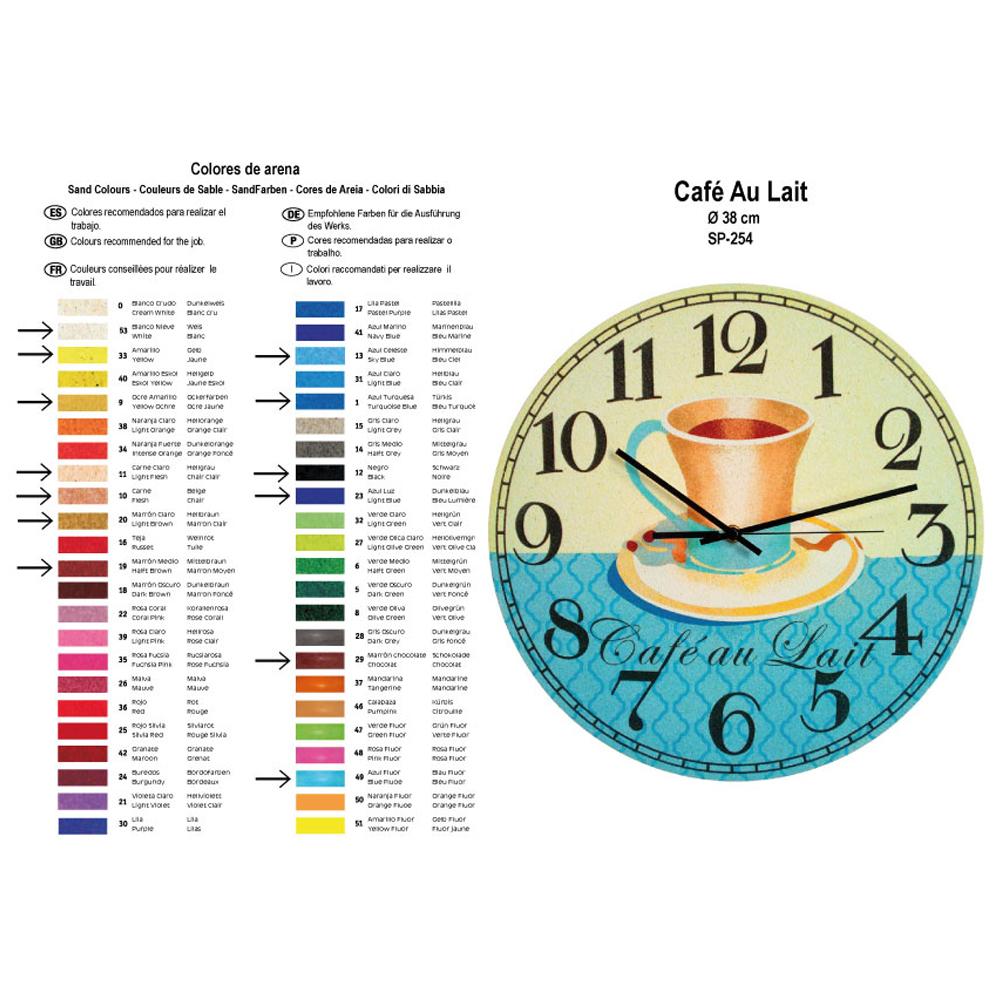 RELOJ Café Au Lait. 2 medidas disponibles Ø 38 y Ø 70 cm