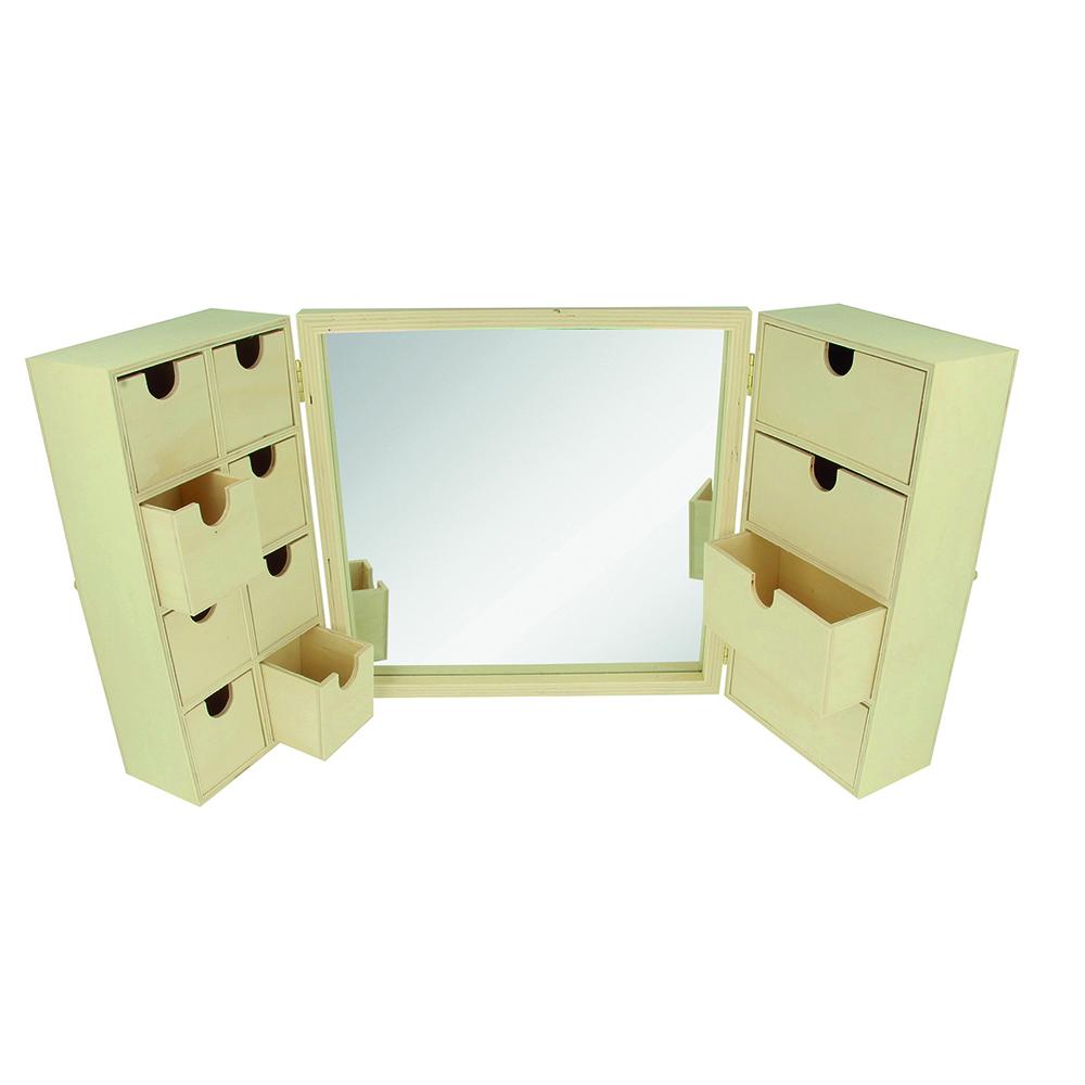 Armario joyero espejo 26x8x26 cm