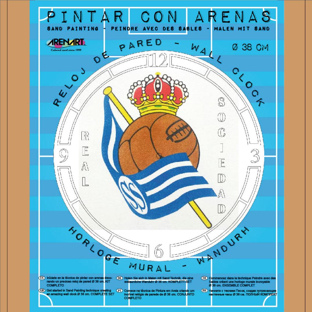 Set Pinta Reloj Pared con arenas. Real Sociedad