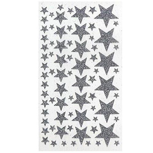 Pegatina estrellas purpurina plata 40 pzas 1-4 cm