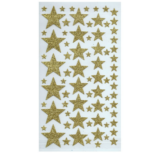 Pegatina estrellas purpurina oro 40 pzas 1-4 cm