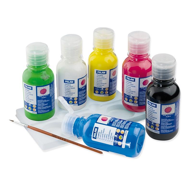 Caja 6 botellas de témpera de colores 125 ml con pincel