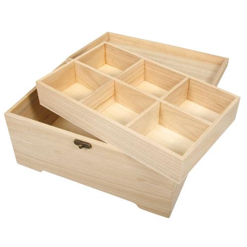 Baúl joyero 2 partes y 6 compartimentos 28x18x13,5 cm