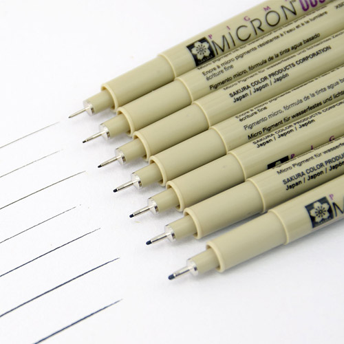 Rotulador Pigma Micron 0,45 mm. Gama de 15 colores